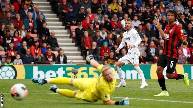 Andriy Yarmolenko shoots wide against Bournemouth
