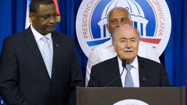 Jeffrey Webb (left) with Sepp Blatter