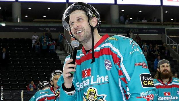 Derrick Walser talks to Giants fans after the final home game of the season earlier this month