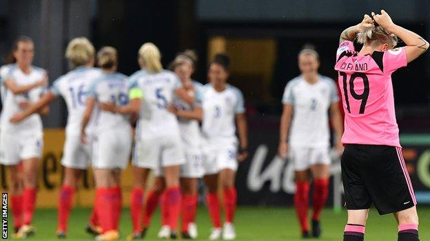 Scotland's Erin Cuthbert is left disappointed as England celebrate