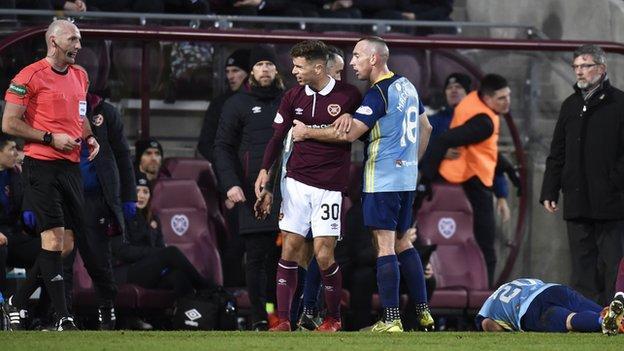 Hearts defender Jamie Brandon