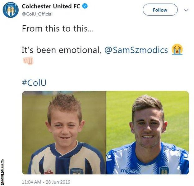Colchester United tweet