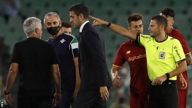 Jose Mourinho is sent off during Roma's friendly with Real Betis