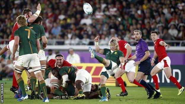 Faf de Klerk puts up a box-kick