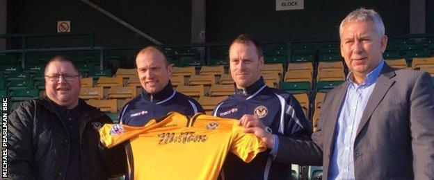 Director Gavin Foxall, manager Warren Feeney, first team coach Mike Flynn, director John Bowkett
