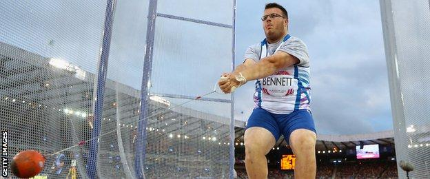 Chris Bennett in action at the Glasgow Commonwealth Games