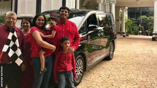 The Mathur family leave Singapore at the start of their journey
