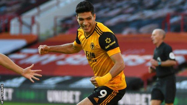 Raul Jimenez celebrates scoring against Sheffield United