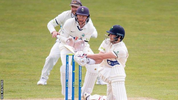 Glamorgan's Billy Root ended day three at Headingley unbeaten on 77