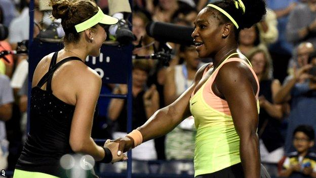 Belinda Bencic and Serena Williams