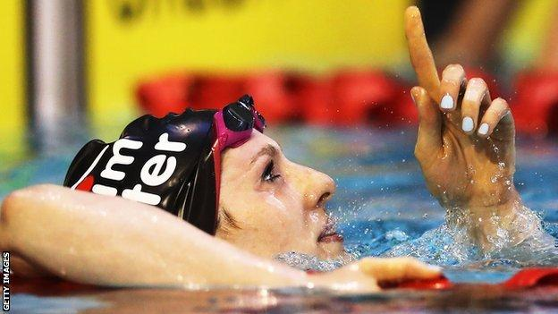 Bethany Firth celebrates breaking a world record