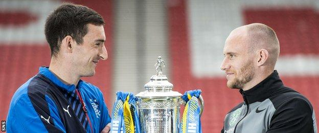 Lee Wallace and David Gray with the Scottish Cup trophy