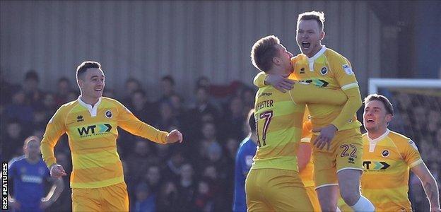 Millwall's Aiden O'Brien celebrates his goal against AFC Wimbledon