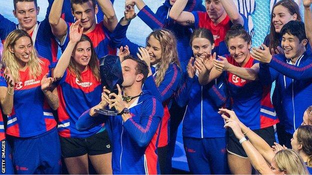 Energy Standard celebrating their International Swimming League victory
