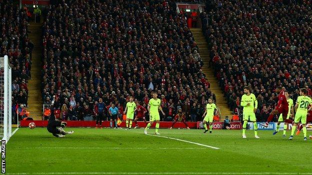 Georginio Wijnaldum scores Liverpool's second goal on the night