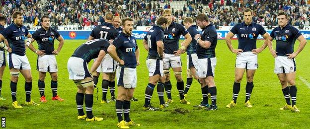 The Scotland players mull over their 19-16 defeat by France in Paris