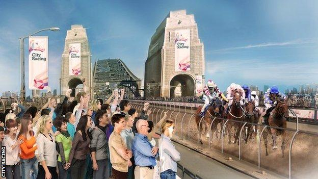 A computer generated image of horses racing over Sydney Harbour Bridge