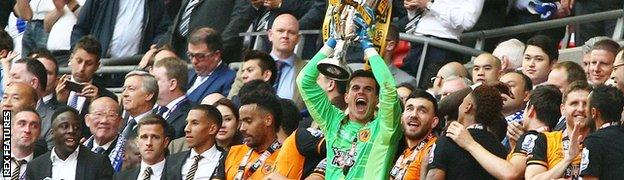 Hull lift the Championship play-off trophy