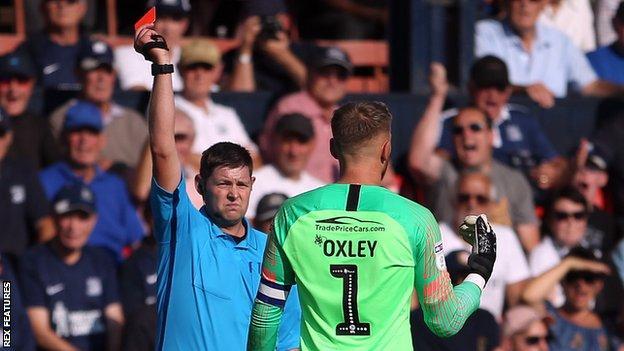 Southend United goalkeeper Mark Oxley sent off against Charlton