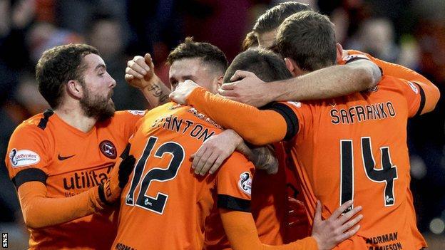 Dundee United celebrate Sam Stanton's opener against Falkirk