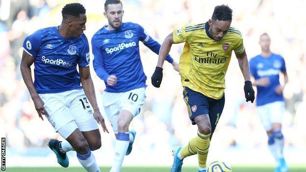 Pierre-Emerick Aubameyang, Yerry Mina, Gylfi Sigurdsson, Everton, Arsenal