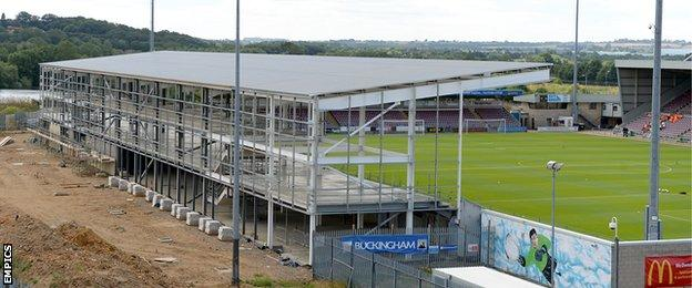 The incomplete East Stand at Sixfields Stadium