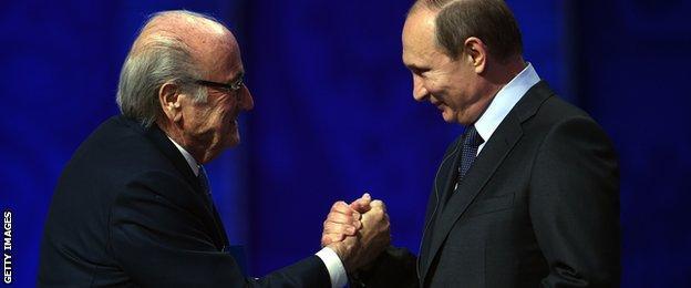 Sepp Blatter and Vladimir Putin