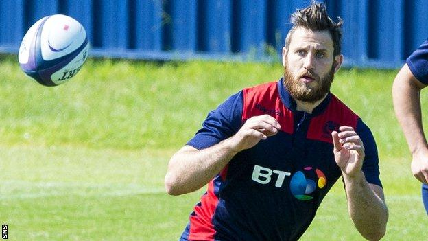 Tommy Seymour trains with Scotland at Murrayfield ahead of their Japan tour