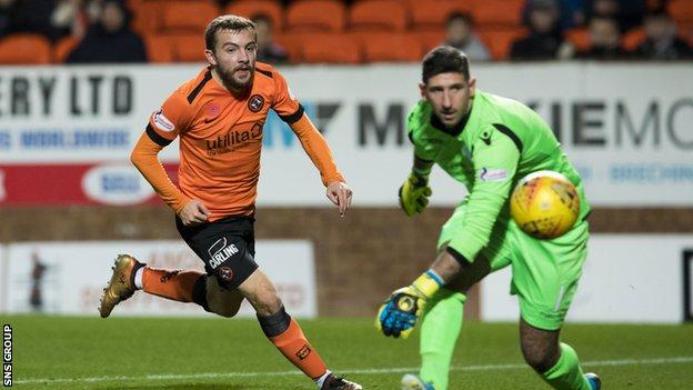 Pressure from Paul McMullan led to Dundee United's second goal at Tanandice