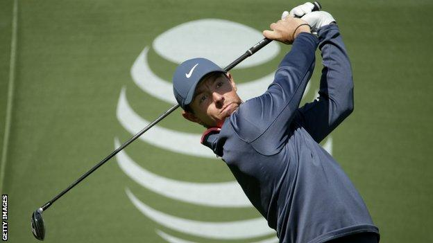 Rory McIlroy hits a drive during the third round at the Pebble Beach Pro-Am