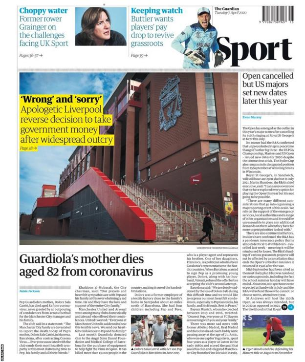 The back page of Tuesday's Guardian
