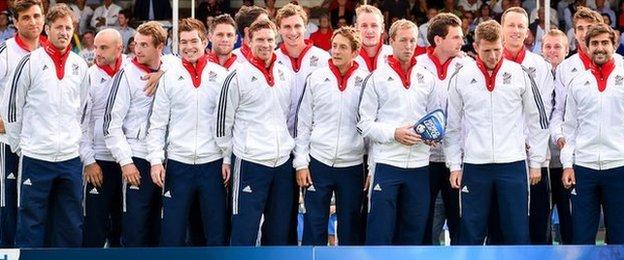 The Great Britain hockey team at the Hockey World League in 2015