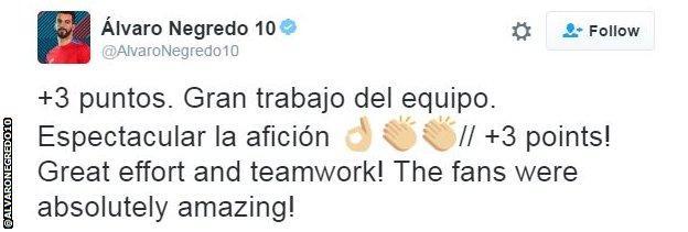 Alvaro Negredo tweet