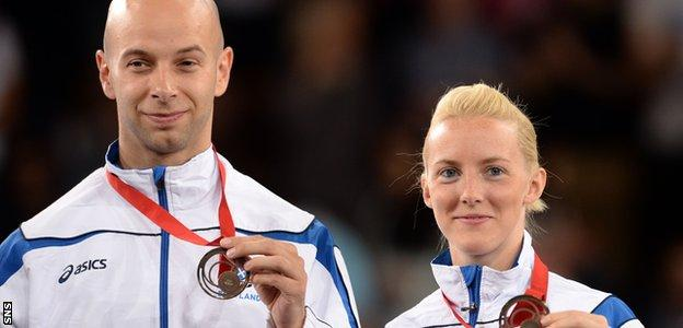 Robert Blair and Imogen Bankier with their Commonwealth Games mixed doubles bronze