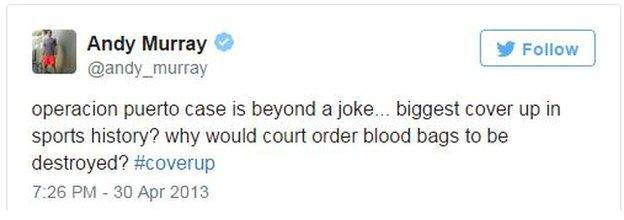 Andy Murray on Twitter in April 2013