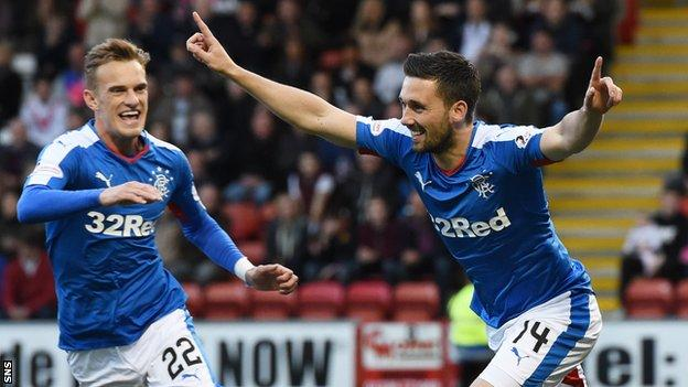 Dean Shiels races in to congratulate Nicky Clark on opening the scoring