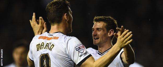 Derby's Chris Martin and Craig Bryson celebrate