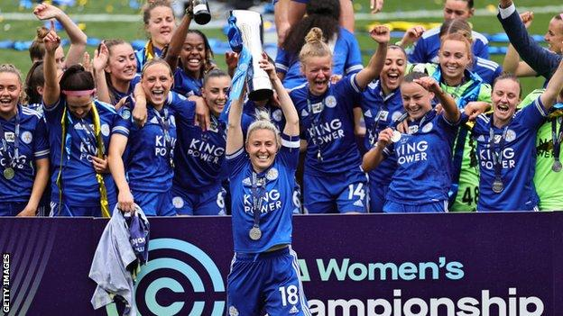Leicester City celebrate winning the Championship
