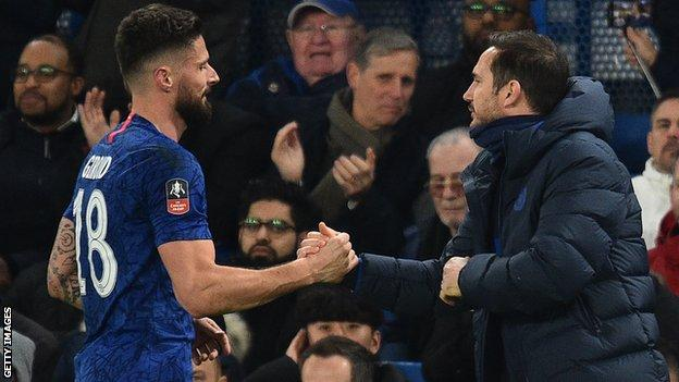Olivier Giroud and Frank Lampard