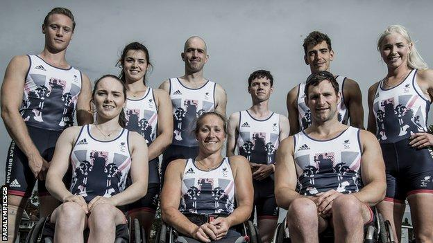 The GB rowing team for the Rio Paralympics