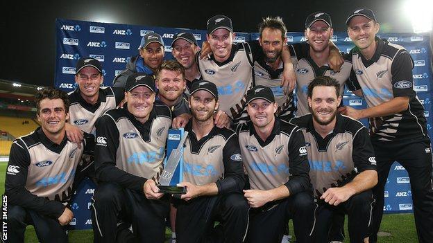 New Zealand with the Twenty20 series trophy