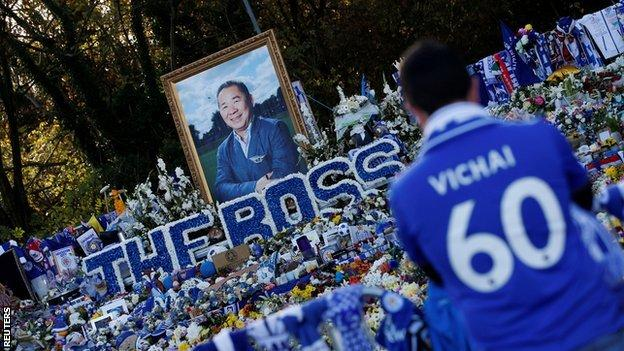 Tributes outside Leicester's King Power Stadium