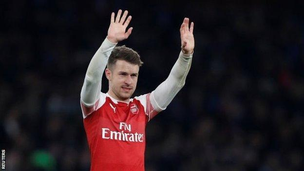 Aaron Ramsey waving to the crowd