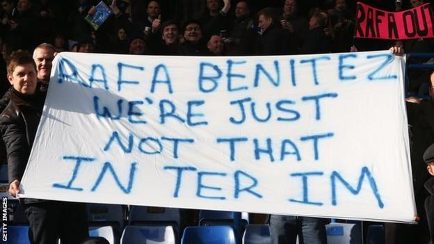 Chelsea fans display a banner at Stamford Bridge about Rafael Benitez in March 2013