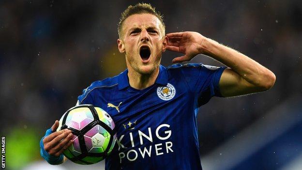 Leicester City's Jamie Vardy celebrates scoring a goal