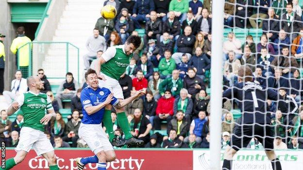 Darren McGregor opened the scoring at Easter Road with a looping header
