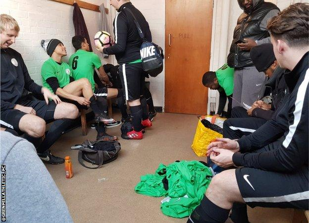 Grenfell Athletic in the changing room preparing for a game