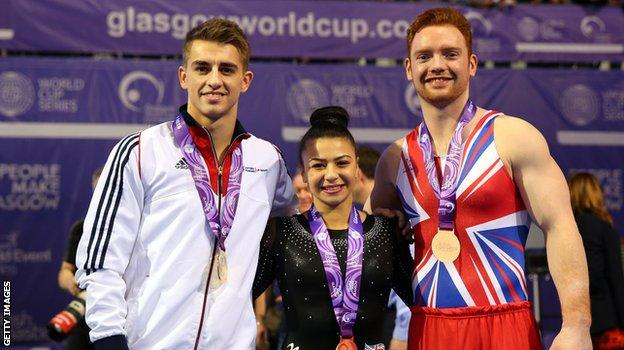 Max Whitlock, Claudia Fragapane and Daniel Purvis show off their medals at the Glasgow World Cup.