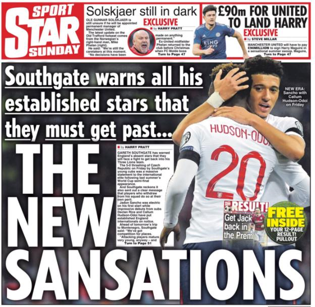 The Star says Gareth Southgate has warned some of England's established players