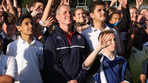 Stuart Lancaster and his players have spent time with children who are new to rugby union